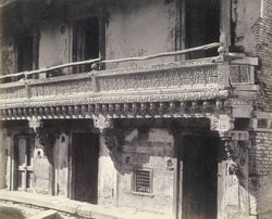 Wood carving on the front of a house, Ahmadabad 1785